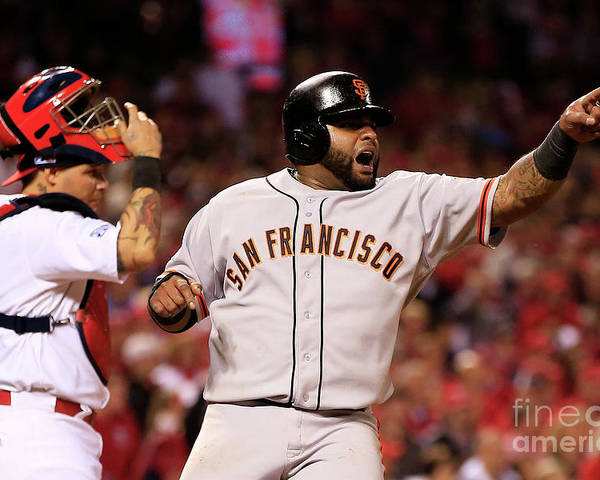 Game Two Poster featuring the photograph Pablo Sandoval, Yadier Molina, and Hunter Pence by Jamie Squire