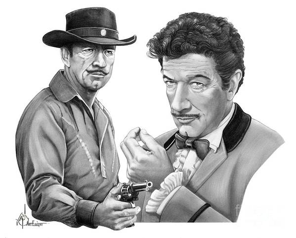 Pencil Poster featuring the drawing Paladin-Have Gun Will Travel by Murphy Elliott