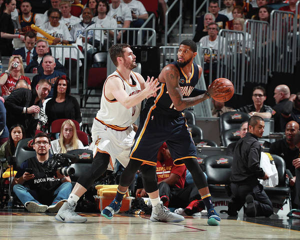 Playoffs Poster featuring the photograph Paul George and Kevin Love by Jeff Haynes