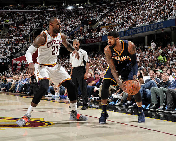 Playoffs Poster featuring the photograph Paul George and Lebron James by David Liam Kyle