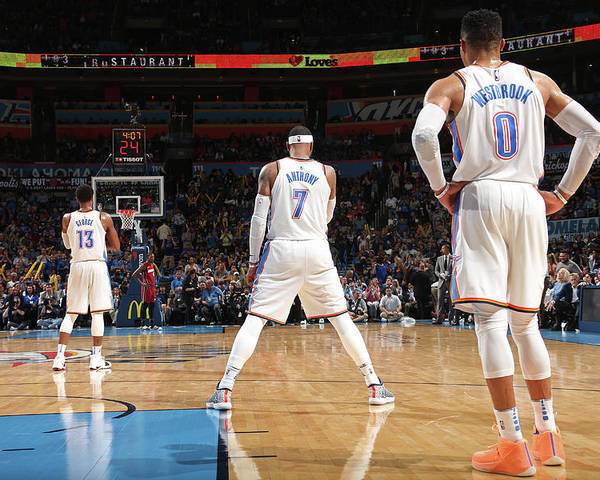 Nba Poster featuring the photograph Paul George, Carmelo Anthony, and Russell Westbrook by Layne Murdoch