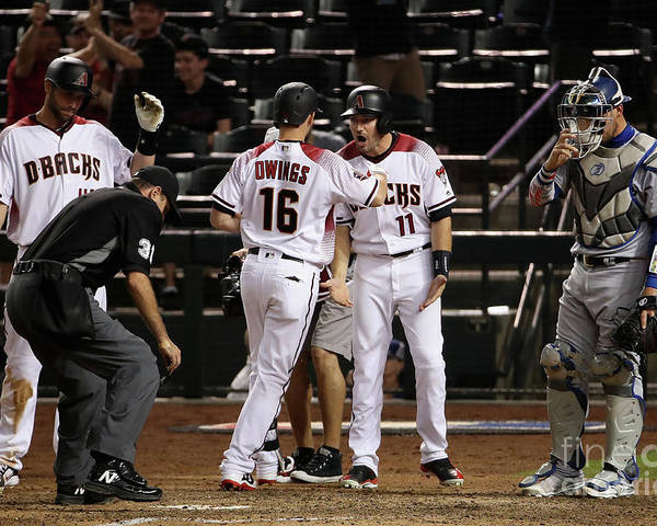 Ninth Inning Poster featuring the photograph Paul Goldschmidt and Chris Owings by Christian Petersen