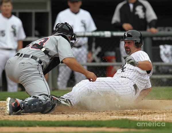 American League Baseball Poster featuring the photograph Paul Konerko and Alex Avila by Jonathan Daniel