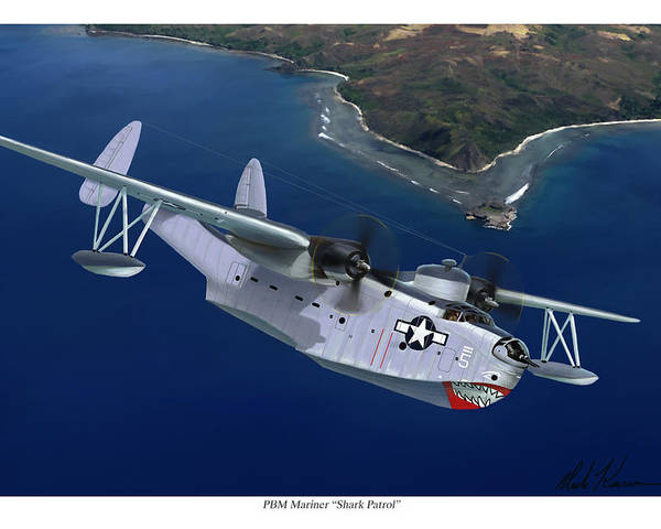 Aviation Art Poster featuring the painting PBM Mariner by Mark Karvon