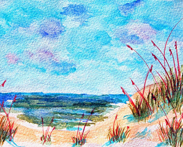 Beach Poster featuring the painting Peaceful Beach by Donna Proctor