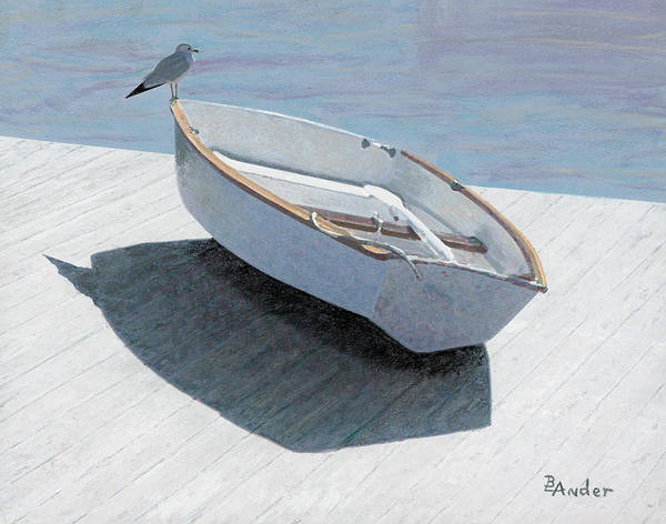 Seagull Poster featuring the drawing Perch by Brent Ander