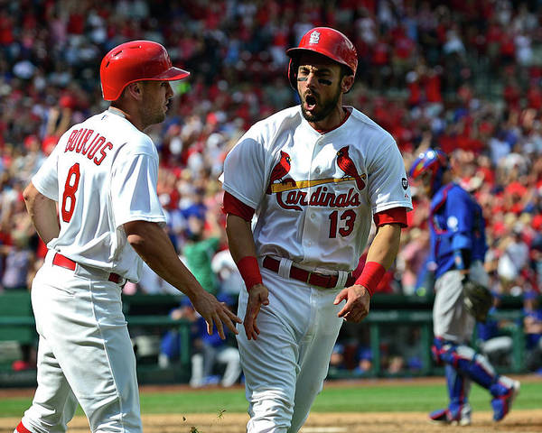 St. Louis Cardinals Poster featuring the photograph Peter Bourjos and Matt Carpenter by Jeff Curry