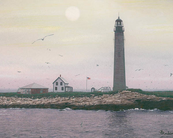 Lighthouse Poster featuring the drawing Petit Manan Lighthouse by Brent Ander