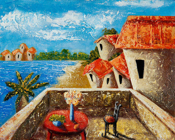 Landscape Poster featuring the painting Playa Gorda by Oscar Ortiz