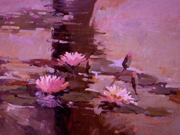Water Lily Paintings Poster featuring the painting Pond Blossoms - water lilies by Betty Jean Billups