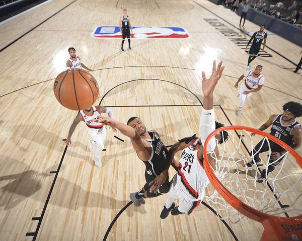 Nba Pro Basketball Poster featuring the photograph Portland Trail Blazers v Brooklyn Nets by Jesse D. Garrabrant