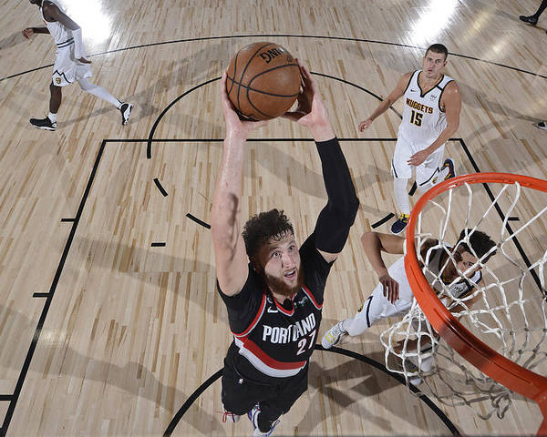 Jusuf Nurkić Poster featuring the photograph Portland Trail Blazers v Denver Nuggets by David Dow