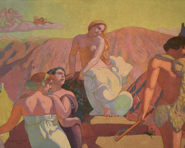 Ivan Morozov Commission Poster featuring the painting Psyche's Kin Bid Her Farewell on a Mountain Top by Maurice Denis