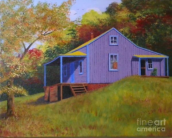 Landscape Poster featuring the painting Purple Mountain House by Hugh Harris