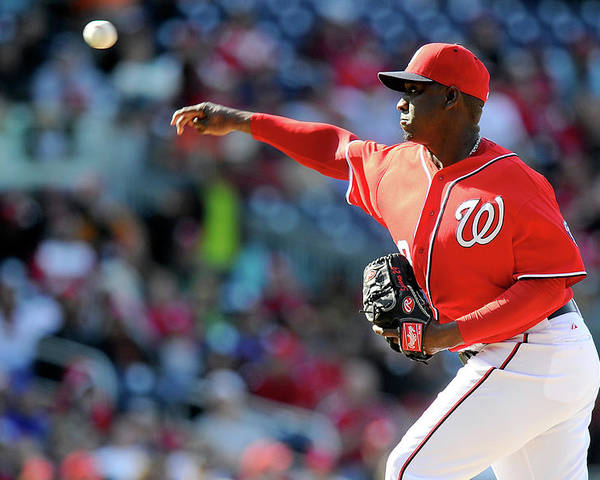Ninth Inning Poster featuring the photograph Rafael Soriano by Greg Fiume