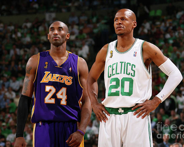 Nba Pro Basketball Poster featuring the photograph Ray Allen and Kobe Bryant by Jesse D. Garrabrant