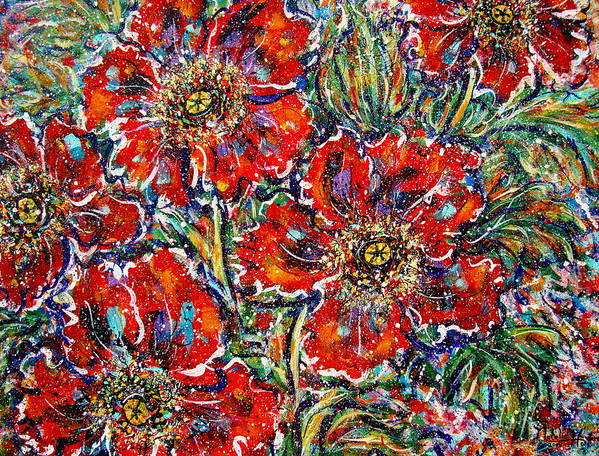 Flowers Poster featuring the painting Red Fantasy Poppies by Natalie Holland