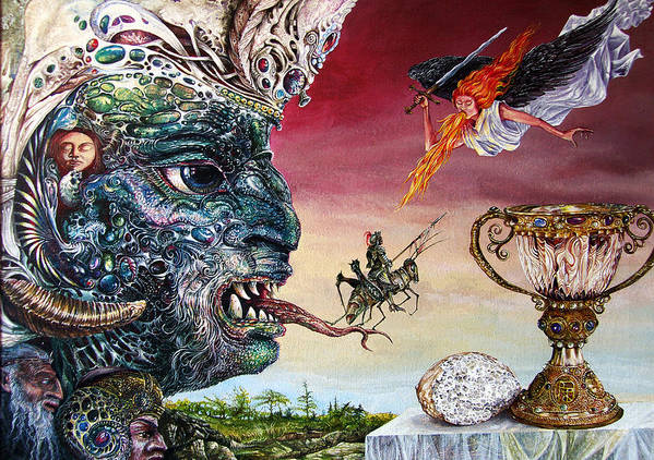 Surrealism Poster featuring the painting Revelation 20 by Otto Rapp