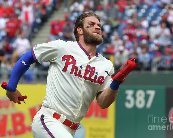 Three Quarter Length Poster featuring the photograph Rhys Hoskins and Bryce Harper by Rich Schultz