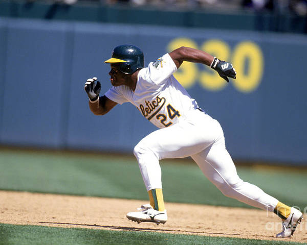 American League Baseball Poster featuring the photograph Rickey Henderson by Jeff Carlick