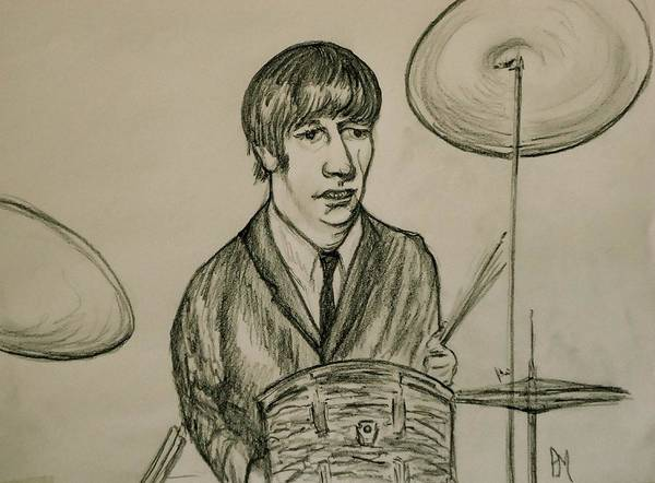Beatles Poster featuring the drawing Ringo by Pete Maier