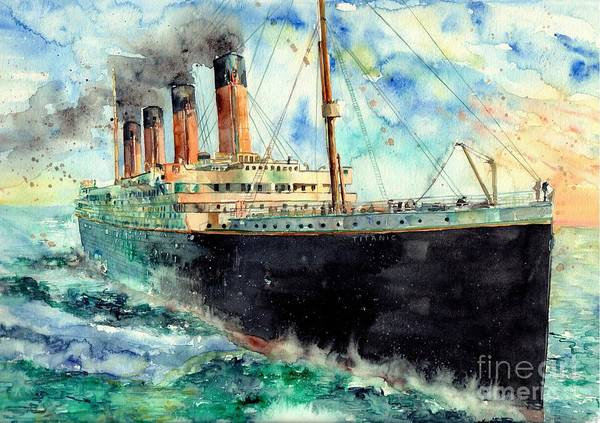 Rms Titanic Poster featuring the painting RMS Titanic White Star Line Ship by Suzann Sines