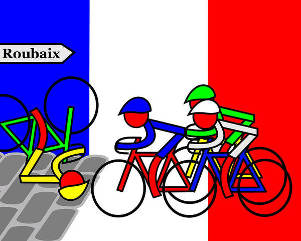 Roubaix Poster featuring the mixed media Roubaix by Asbjorn Lonvig