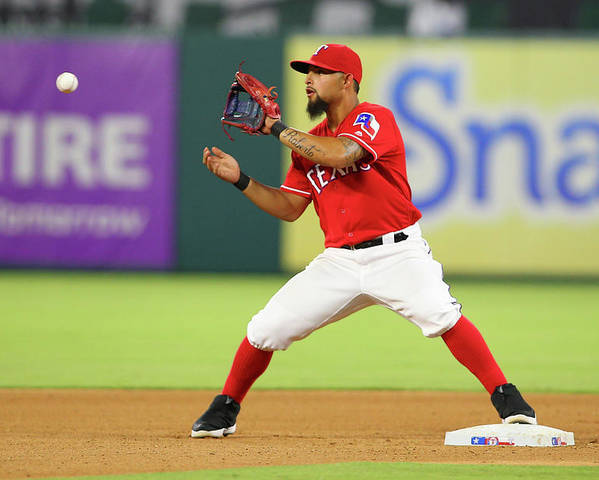 Double Play Poster featuring the photograph Rougned Odor by R. Yeatts