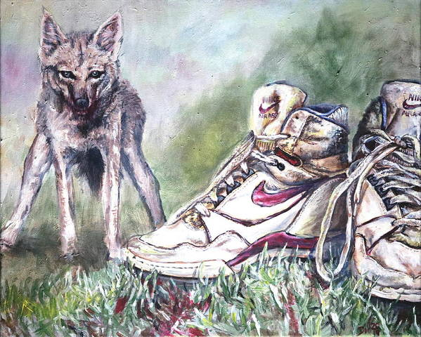 Shoes Nike Running Jackal Grass Run Vicious Animal Animal Green Red Blood Exercise Australian Poster featuring the painting Running with Jackal by Rust Dill
