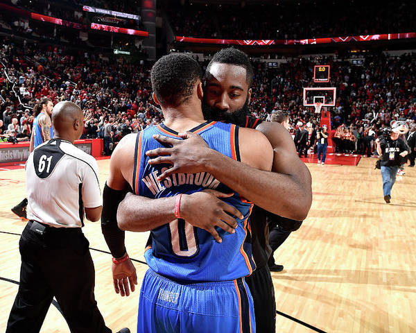 Nba Pro Basketball Poster featuring the photograph Russell Westbrook and James Harden by Bill Baptist