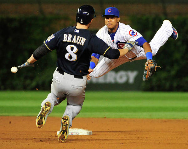 Ninth Inning Poster featuring the photograph Ryan Braun and Starlin Castro by David Banks