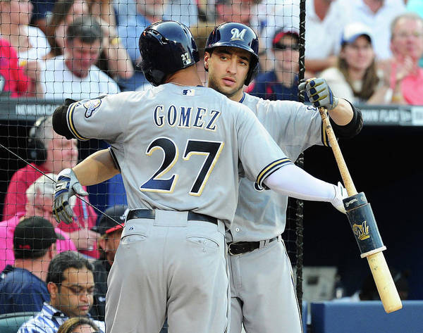 Atlanta Poster featuring the photograph Ryan Braun, Carlos Gomez, and Ervin Santana by Scott Cunningham