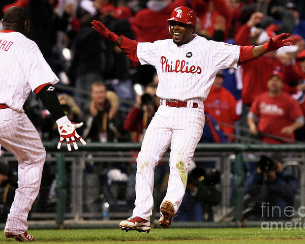 Playoffs Poster featuring the photograph Ryan Howard and Jimmy Rollins by Nick Laham