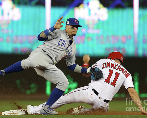 Game Two Poster featuring the photograph Ryan Zimmerman and Javier Baez by Win Mcnamee