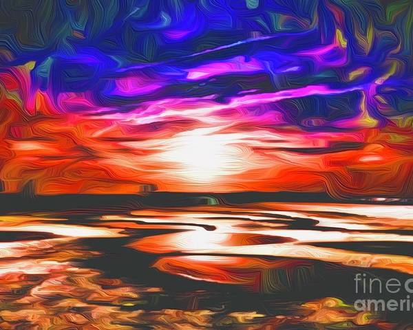Landscape Poster featuring the digital art Sands Beach by Michael Stothard