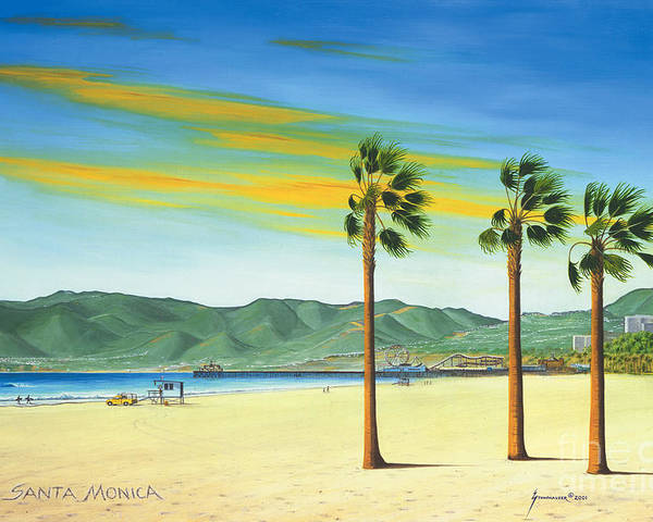 Santa Monica Poster featuring the painting Santa Monica by Jerome Stumphauzer