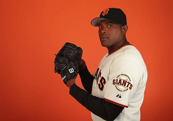 Media Day Poster featuring the photograph Santiago Casilla by Christian Petersen