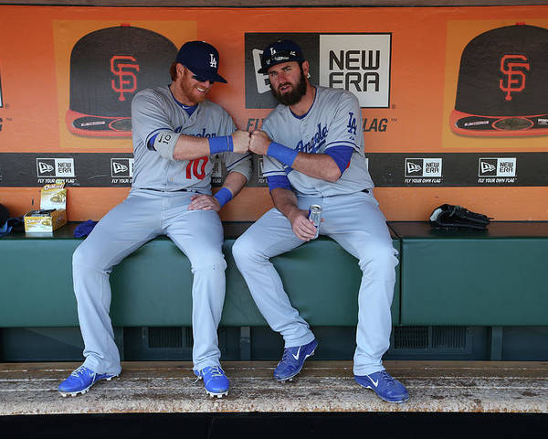 San Francisco Poster featuring the photograph Scott Van Slyke and Justin Turner by Brad Mangin