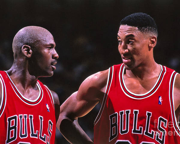 Chicago Bulls Poster featuring the photograph Scottie Pippen and Michael Jordan by Kent Smith