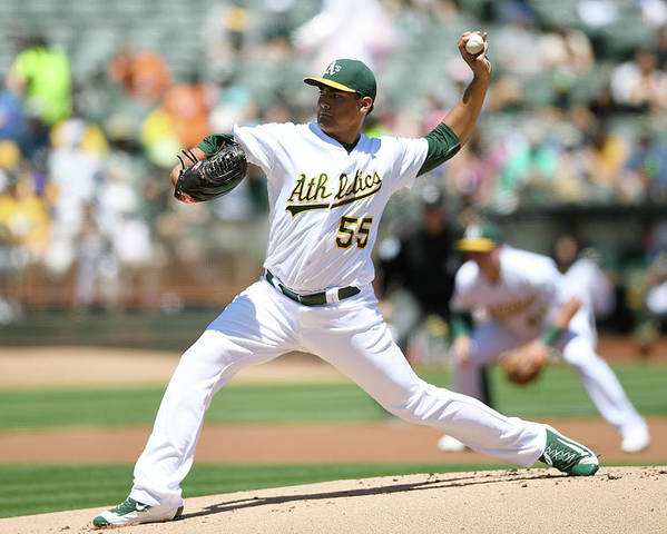 American League Baseball Poster featuring the photograph Sean Manaea by Thearon W. Henderson