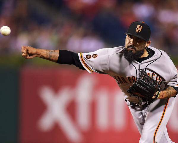 Three Quarter Length Poster featuring the photograph Sergio Romo by Drew Hallowell