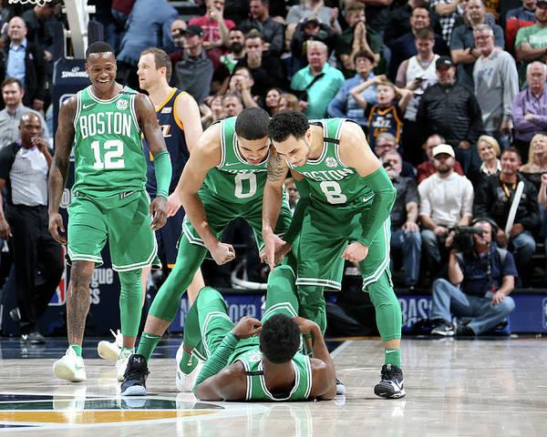Nba Pro Basketball Poster featuring the photograph Shane Larkin, Jaylen Brown, and Jayson Tatum by Melissa Majchrzak