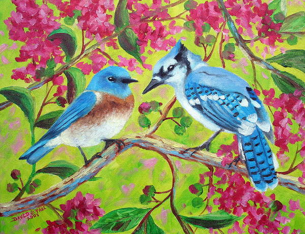 Birds Poster featuring the painting Sharing A Branch by David G Paul