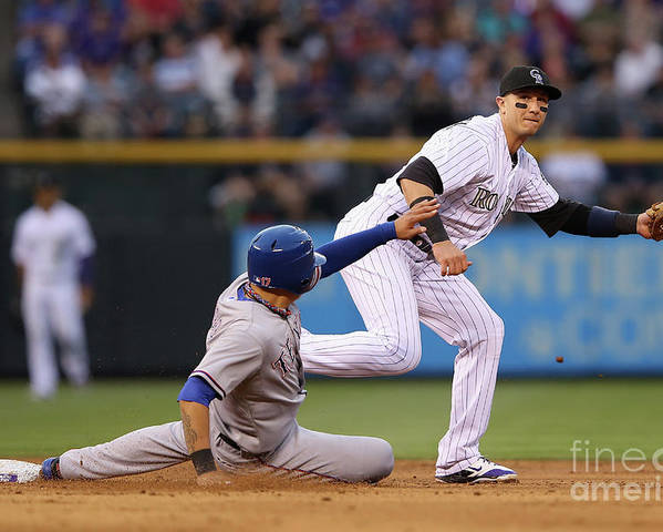 American League Baseball Poster featuring the photograph Shin-soo Choo and Troy Tulowitzki by Doug Pensinger