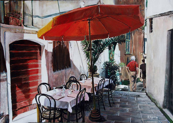 Cafe Poster featuring the painting Red Umbrella Outdoor Cafe by Jennifer Lycke