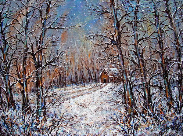Landscape Poster featuring the painting Snowing in the Woods by Natalie Holland
