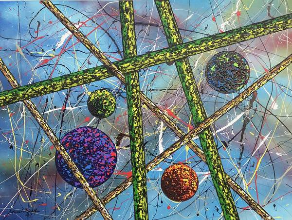 Abstract Poster featuring the painting Spheres #5 by Micah Guenther