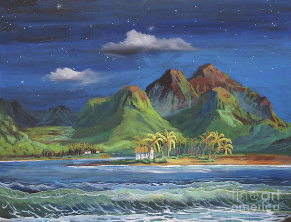 Hawaii Poster featuring the painting Splendor in the Moonlight by Heather Coen