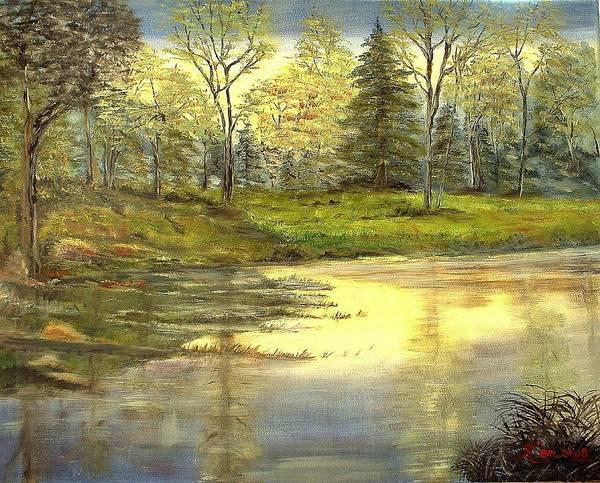Landscape Trees Lake Reflections Poster featuring the painting Spring Time by Kenneth LePoidevin