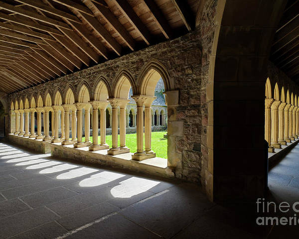 Iona Abbey Poster featuring the photograph St Marys Abbey Cloisters, Isle Of Iona, Inner Hebrides, Scotland by Neale And Judith Clark